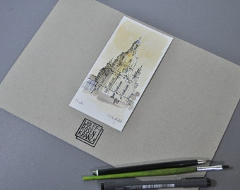 Church of our Lady, Dresden, pen and ink drawing, watercolour, 8 x 16 cm, original watercolor by Marc M.J.. Wolff Rosary
