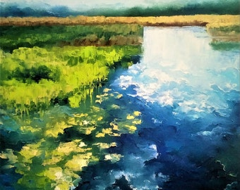 """Summer abstract landscape """"sky in the water"""" 1"""