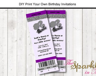 Barbie Concert Ticket Style Birthday Invitation - DIY - Print Your Own - Printable