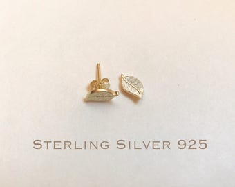 14k Gold over Sterling Silver leaves stud earrings, leaves earrings