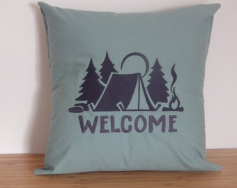 Camping Tent Welcome Pillow Cover. Embroidered Throw Pillow Cover. Embroidered Camping Tent Pillow. Gift For Camping Lovers.