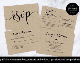 Wedding rsvp postcard - rsvp cards - rsvp online - Print on kraft - wedding rsvp - Editable rsvp Downloadable wedding #WDH812274