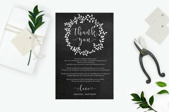 Chalkboard wedding thank you - Wedding Leaves Printable - Wedding Thank You Cards  - Wedding Thank You - DIY - Downloadable wedding #WDH147