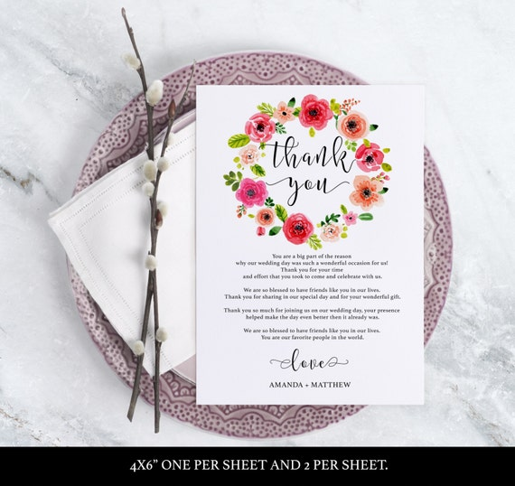 Wedding Thank You Card - Printable Template - Floral Wedding - Thank You Printable - Boho Thank You -  DIY - Downloadable wedding #WDH0145