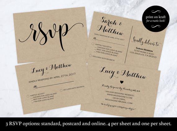 wedding rsvp postcard rsvp cards rsvp online print on kraft