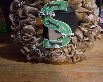 Hand painted family letter weiner dog wreath