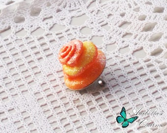 Brooch with flower, rose yellow and orange made with polymer clay