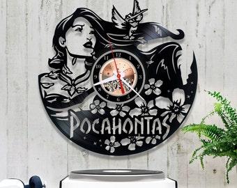 Pocahontas Vinyl Clock/Disney Wall Vinyl Clock 1/8/6/Horloge Vinyl Disney/Handmade Clock/Original Clock/Horloge Disney