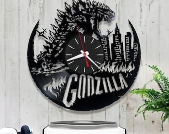 Godzilla Vinyl Clock/Unique Vinyl Clock 1/4/5/Vinyl Record Clock/Wall Vinyl Clock/Original Clock/Handmade Clock/Unique Vinyl Clock