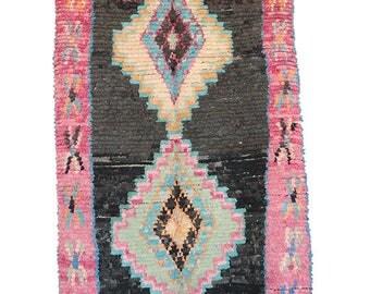"4'1"" x 7'6"" feet Boucherouite Rug BO1150. Vintage Moroccan Rug."
