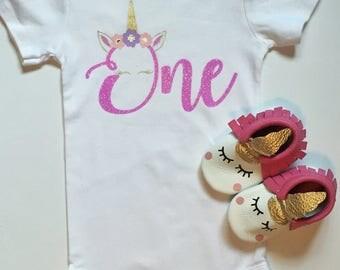 unicorn birthday shirt, first birthday bodysuit, unicorn first birthday party, milestone shirt, birthday putfit, baby girl birthday onesie
