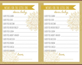 Baby Shower Game Wishes for the Little One Gold Gray Neutral
