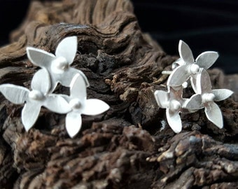 Flower Stud Earrings, Handmade in Recycled Sterling Silver,  Sterling Silver studs, Handmade studs, ***UK FREEPOST***