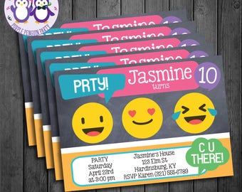 Emoji Birthday Party Invitation, Boy or Girl, Chalkboard, Text Speak, LOL, C U There, Smiley Face