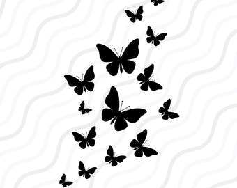 Fluttering Butterflies SVG, Butterfly SVG Cut table Design,svg,dxf,png Use With Silhouette Studio & Cricut_Instant Download
