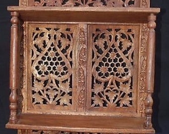Unique Hand Carved Foldable Wooden Shelf from India