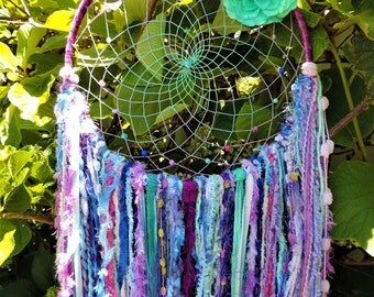 Handmade big pastel and purple dreamcatcher/big size 36cm hoop/perfect gift idea