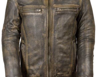 Men's Distressed Brown Vented Leather Jacket Triple Stitch + Free Leather Wallet
