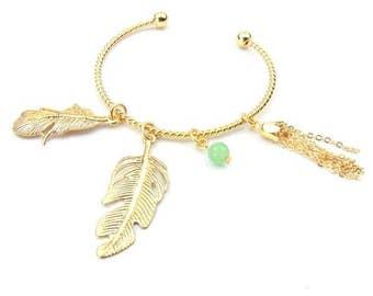Leaf Charm Cuff Bracelet