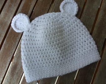 Bear baby Hat white hat with ears 3 sizes