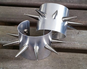 """2"""" Silver Harley Quinn Inspired Spiked Cuff Bracelet"""
