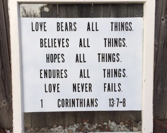 1 Corinthians 13 verse vintage window sign