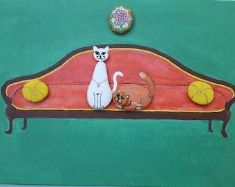 "Painted stones Pebble Stone Art. ""Madame Modiglianì and Monsieur Botero"" The cats """