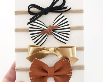 Faux Leather and Suede Boho Bow Set