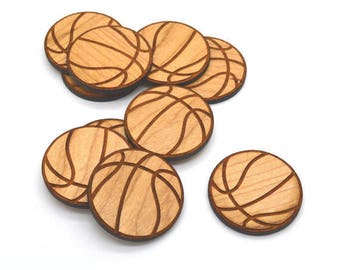 10 Laser Cut Wood Basketballs, Custom Laser Engraved Basketballs