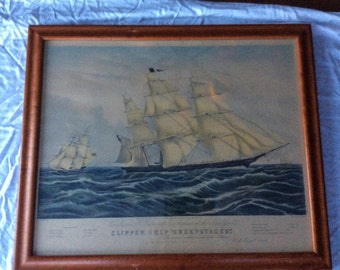1853 N. Currier (Currier & Ives), Framed Clipper Ship Sweepstakes, Lithograph