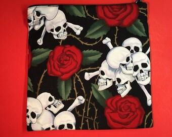7x 7 Skull and Roses Handmade Zipper Pouch
