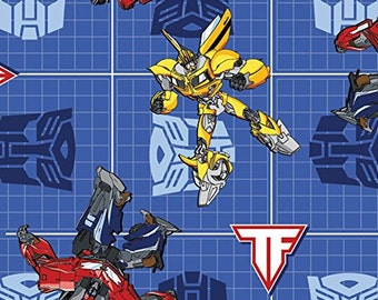 Transformers Blue Patch Fabric Cotton