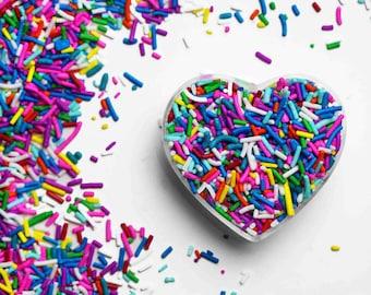 Deluxe Rainbow Crunchy Jimmies™, crunchy sprinkles, skinny sprinkles, sugar strands, canadian sprinkles, rainbow sprinkles, Fancy Sprinkles
