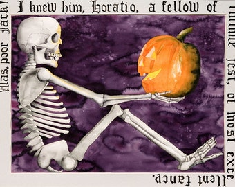 ALAS POOR JACK - Print From Original Watercolor Painting - Fine Art - Surreal - Hamlet Shakespeare Skeleton Halloween Jack-o-lantern Pumpkin