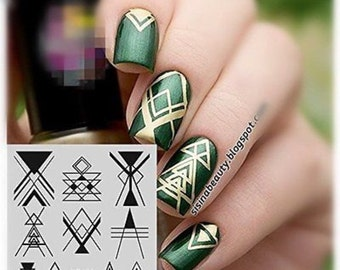 GEOMETRIC - TRIANGLES & ARROWS Stamping Plate for Nail Art - Diy Nails - Nicole Diary - 104