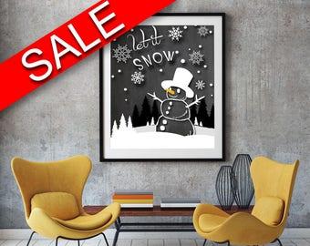 Wall Art Snowman Digital Print Snowman Poster Art Snowman Wall Art Print Snowman Winter Art Snowman Winter Print Snowman Wall Decor Snowman