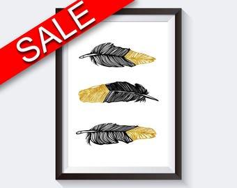 Wall Art Black And Gold Digital Print Black And Gold Poster Art Black And Gold Wall Art Print Black And Gold Feathers Art Black And Gold