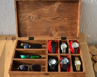 Rustic Men's Watch Box for 6 watches Rustic Sunglasses Box Watch Case Watch Box for Men watch holder