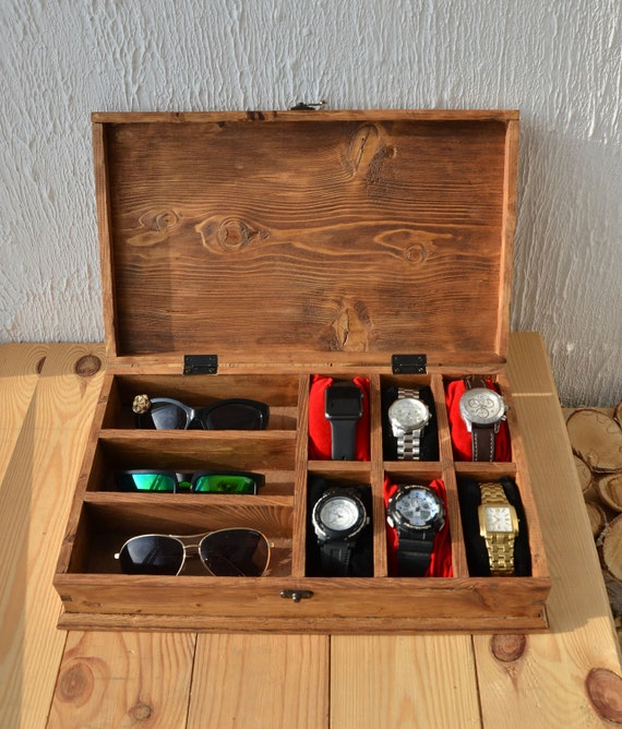 Rustic Men S Watch Box For 6 Watches Rustic Sunglasses Box