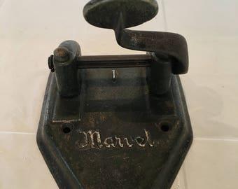 Antique 1920's Cast Iron Marvel Desk Two Hole Punch