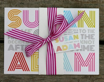 Multicolour Retro Wedding Invitation - Belly Band Style - SAMPLE ONLY