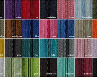 2m zip endless spiral 3mm + 10 slide/zipper 30 colors, sold by the meter
