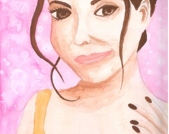 Original Watercolor Painting - Woman with pink