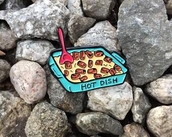 Tater Tot Hot Dish Enamel Pin - Minnesota State Food // Soft Food Casserole Bake Pin