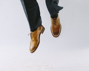 Mens Oxford shoes-Mens shoes-Handmade Shoes- Leather shoes-Tobacco color-Brogues- custom shoes-men shoes-brown-mens oxford-shoes