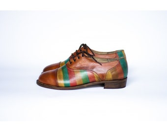 Ladies Derby shoes-Derby-Womens shoes- womens fashion-Hand painted-Handmade shoes- Colored Stripes -women shoes-leather shoes-ladies shoes