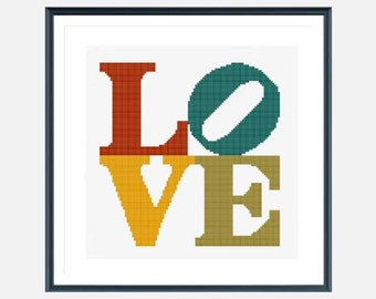 Love Cross Stitch pattern, modern cross stitch, easy cross stitch pdf