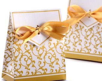 50pcs Gold Ribbon Gift Paper Bags Engagement Anniversary Wedding Party Cake Favour Favor Gift Boxes wedding decor