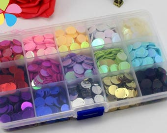 1box/lot(approx 3000pcs) 10mm Mixed 15 Colors Wedding Confetti Round Design Flake Rainbow Cup Sequin