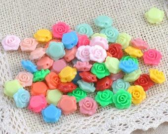 100PCs MIX Colors Lovely Flower Shape Acrylic beads flatback Cabochon Scrapbooking Craft DIY 13x13mm